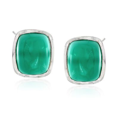 Rectangular Cabochon Green Chalcedony Earrings in Sterling Silver, , default
