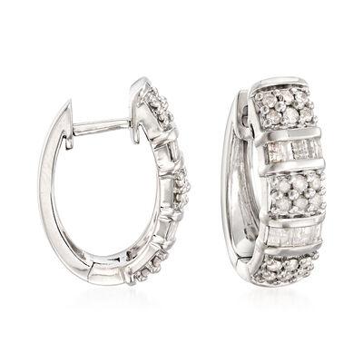 1.50 ct. t.w. Diamond Hoop Earrings in Sterling Silver, , default