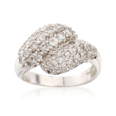 C. 1990 Vintage 1.75 ct. t.w. Diamond Cluster Bypass Ring in 14kt White Gold, , default