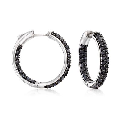 3.60 ct. t.w. Black Spinel Inside-Outside Hoop Earrings in Sterling Silver, , default