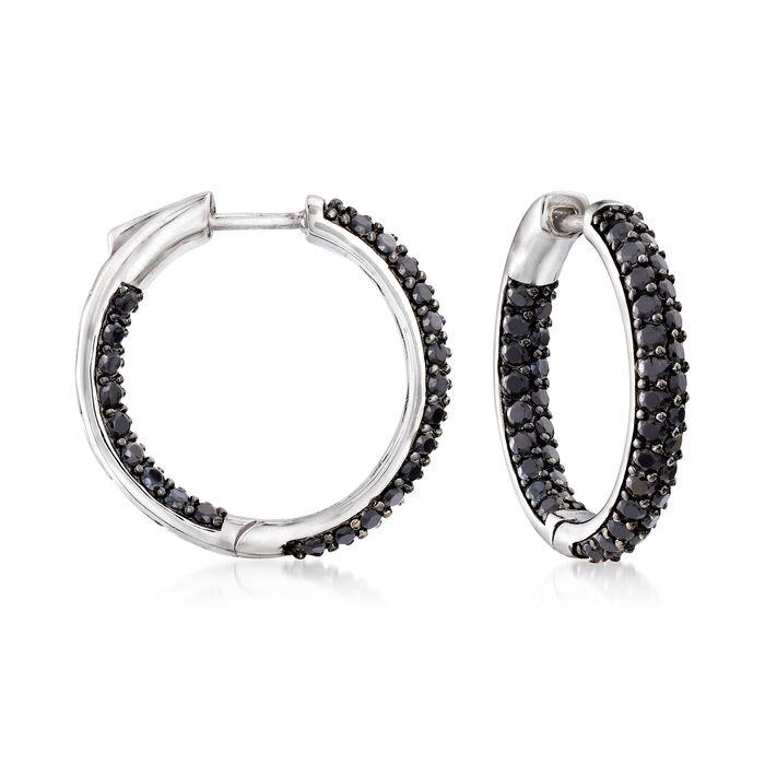 """3.60 ct. t.w. Black Spinel Inside-Outside Hoop Earrings in Sterling Silver. 7/8"""""""