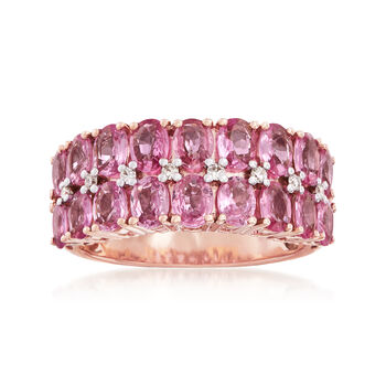 3.80 ct. t.w. Pink Sapphire Ring With Diamond Accents in 14kt Rose Gold, , default
