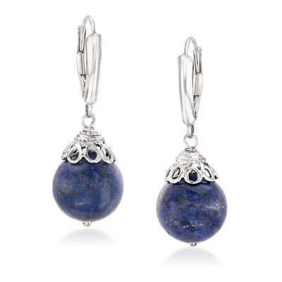 11.5-12mm Lapis Bead Drop Earrings in Sterling Silver