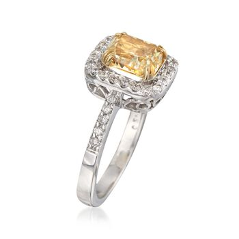 2.33 ct. t.w. Certified Yellow and White Diamond Ring in 18kt White Gold