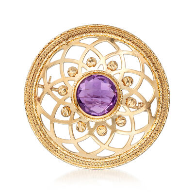 Italian 2.00 Carat Amethyst Floral Pin in 14kt Yellow Gold, , default