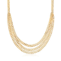 Italian Curb Link Multi-Strand Necklace in 14kt Yellow Gold, , default