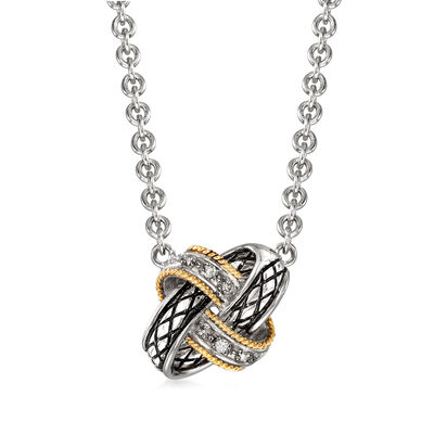 "Andrea Candela ""Nudo De Amor"" Love Knot Necklace in Sterling Silver and 18kt Yellow Gold, , default"