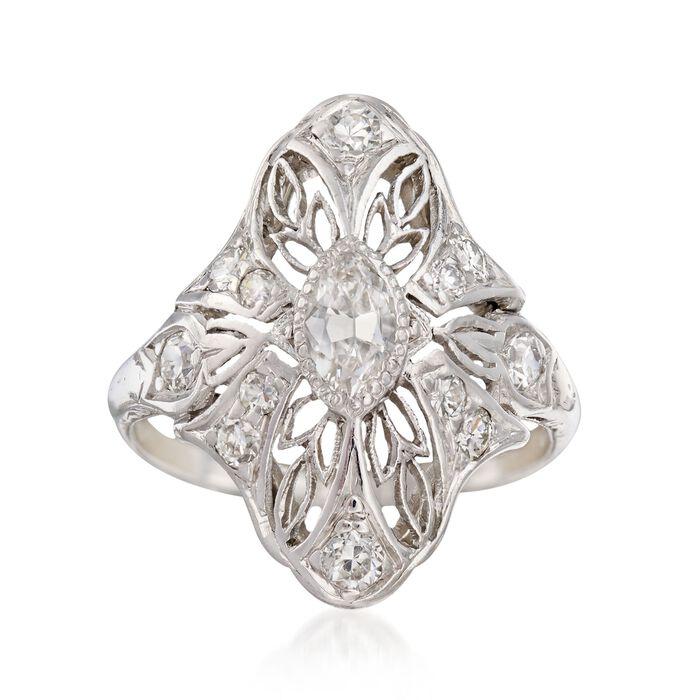 C. 1920 Vintage .58 ct. t.w. Diamond Navette Ring in Platinum. Size 3.5