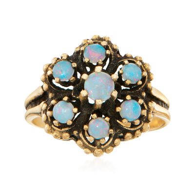 C. 1970 Vintage Opal Cluster Ring in 14kt Yellow Gold, , default