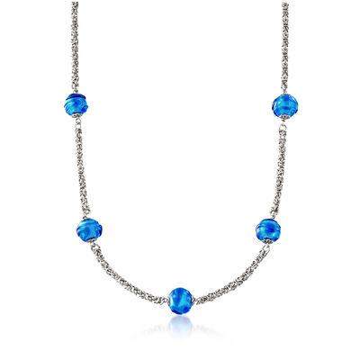 Italian Blue Murano Glass Bead Byzantine Station Necklace in Sterling Silver, , default