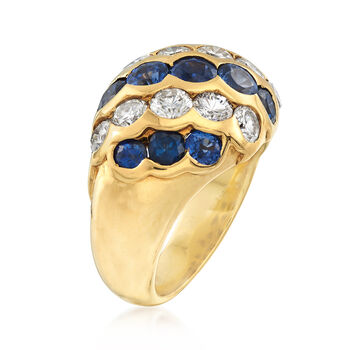 C. 1990 Vintage 3.37 ct. t.w. Sapphire and 1.81 ct. t.w. Diamond Diagonal Ring in 18kt Yellow Gold. Size 6.5