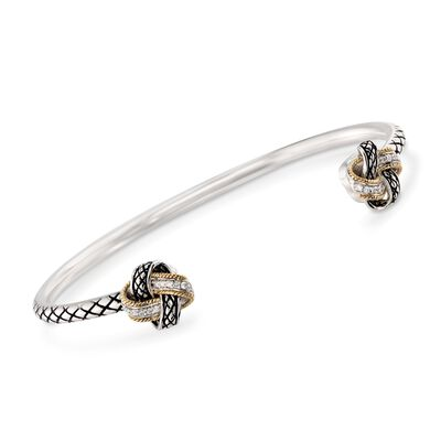 "Andrea Candela ""Nudo De Amor"" .12 ct. t.w. Diamond Cuff Bracelet in Sterling Silver and 18kt Yellow Gold, , default"