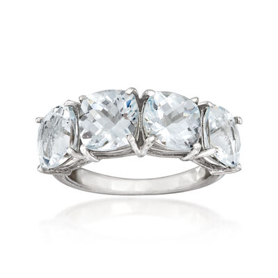 5.25 ct. t.w. Aquamarine Four-Stone Ring in Sterling Silver, , default