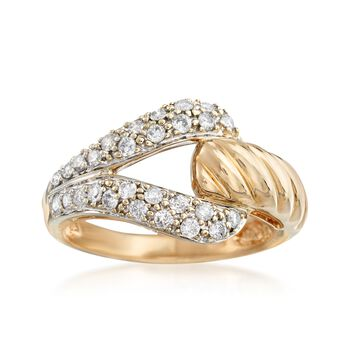 C. 1980 Vintage .55 ct. t.w. Diamond Buckle Ring in 14kt Yellow Gold. Size 7.5, , default