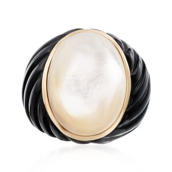 Mother-Of-Pearl and Black Agate Ring in 14kt Yellow Gold, , default