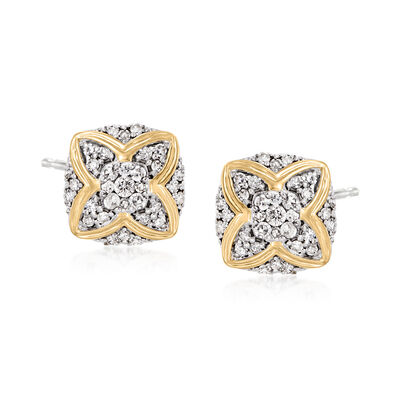 .50 ct. t.w. Diamond Stud Earrings in Sterling Silver with 14kt Yellow Gold