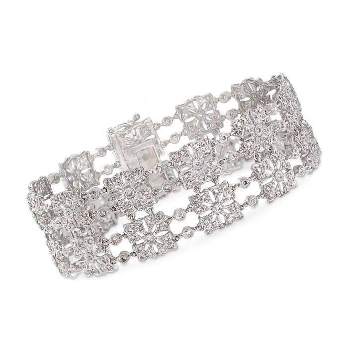 C. 1990 Vintage 2.60 ct. t.w. Diamond Squared Section Bracelet in 14kt White Gold. 7""