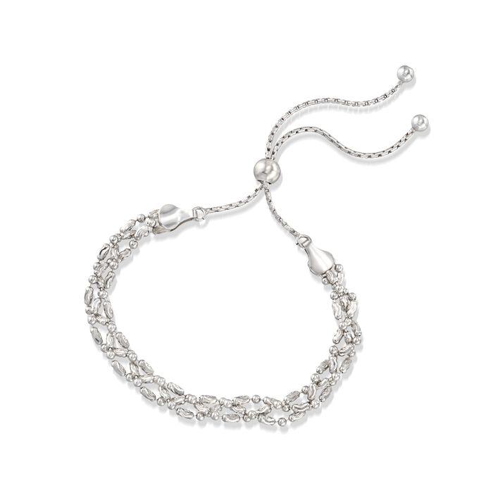 Italian Sterling Silver Diamond-Cut Braided Bead Bolo Bracelet