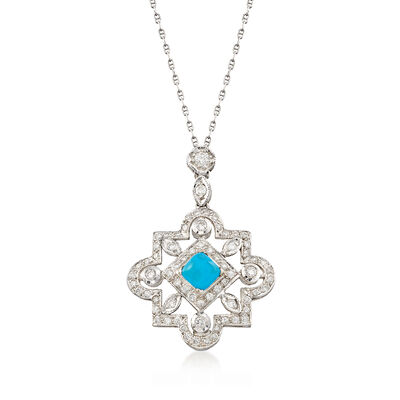 C. 2000 Vintage Reconstituted Turquoise and .75 ct. t.w. Diamond Necklace in 18kt White Gold, , default