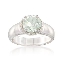 1.60 Carat Green Amethyst and .10 ct. t.w. White Topaz Ring in Sterling Silver, , default