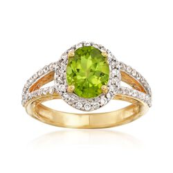 1.90 Carat Peridot and .80 ct. t.w. White Zircon Ring in 18kt Gold Over Sterling, , default