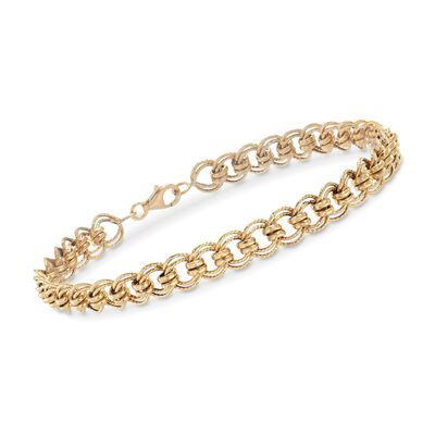 18kt Yellow Gold Multi-Circle Link Bracelet, , default