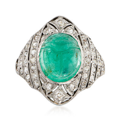 C. 1950 Vintage 4.75 Carat Emerald Scarab and .65 ct. t.w. Diamond Ring in Platinum, , default