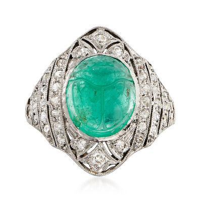 C. 1950 Vintage 4.75 Carat Emerald Scarab and .65 ct. t.w. Diamond Ring in Platinum