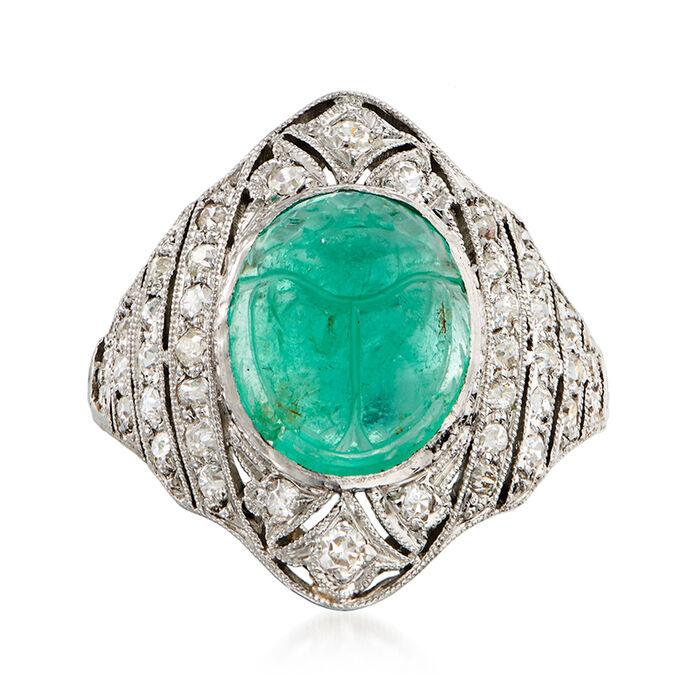 C. 1950 Vintage 4.75 Carat Emerald Scarab and .65 ct. t.w. Diamond Ring in Platinum. Size 5.5, , default