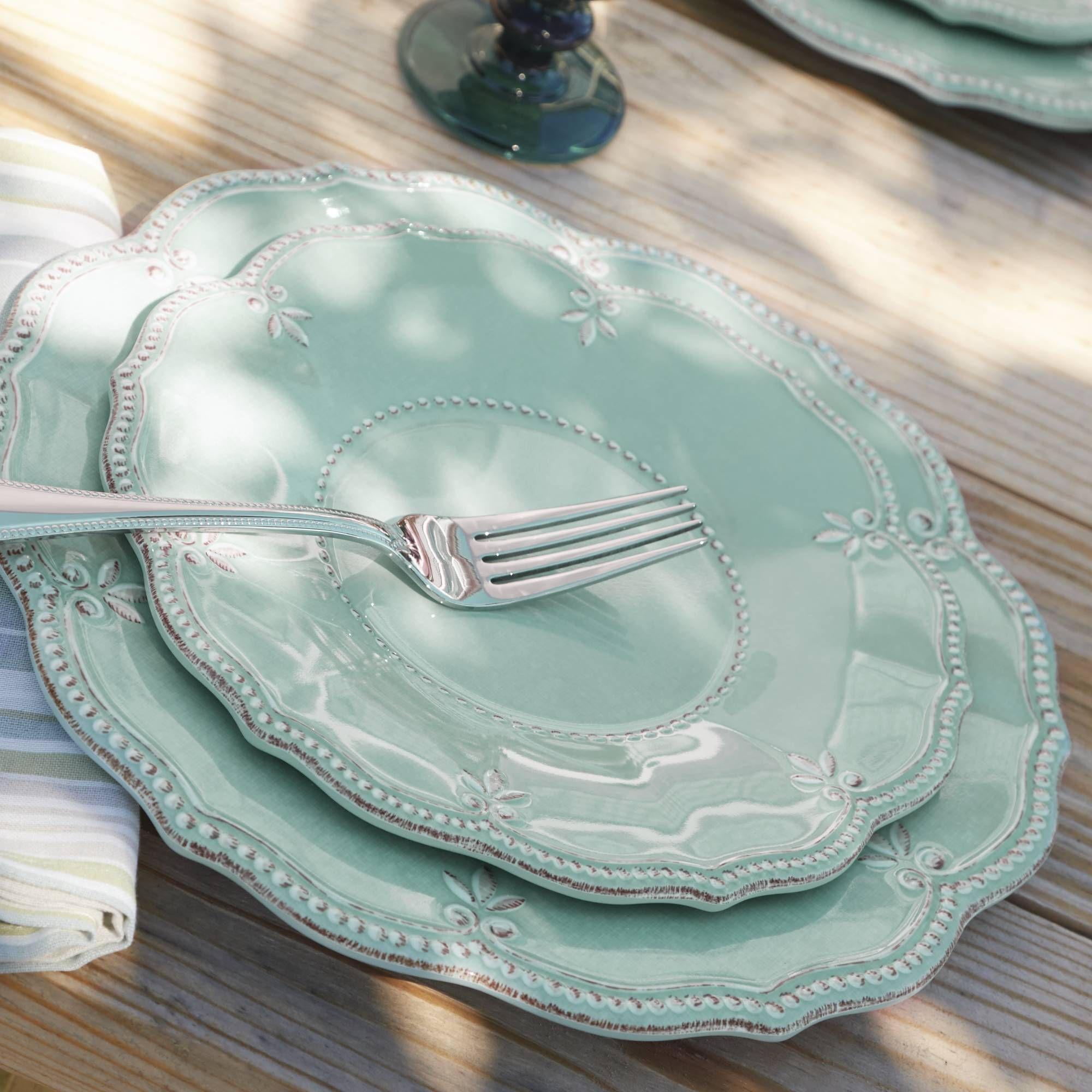Lenox \u0026quot;French Perle\u0026quot; Aqua Melamine Dinnerware   default & Lenox \