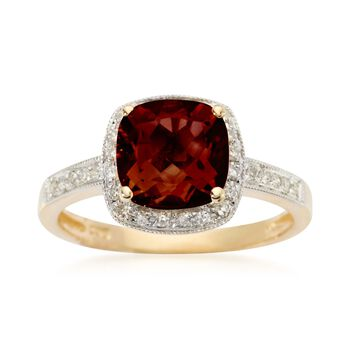 2.25 Carat Garnet and .10 ct. t.w. Diamond Ring in 14kt Yellow Gold, , default