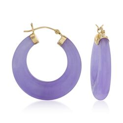 Purple Jade Hoop Earrings in 14kt Yellow Gold, , default