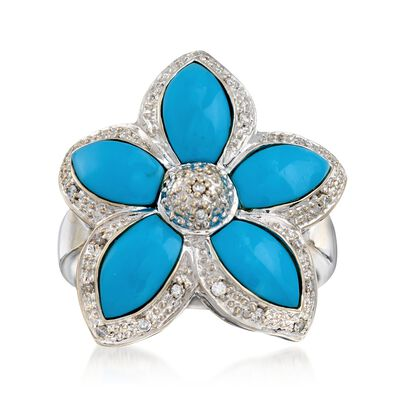 C. 1990 Vintage Turquoise and .15 ct. t.w. Diamond Flower Ring in 18kt White Gold