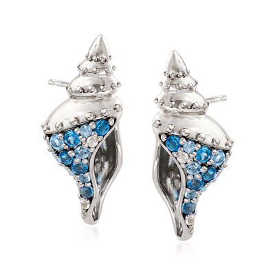 .58 ct. t.w. Blue Topaz and .10 ct. t.w. White Topaz Seashell Earrings in Sterling Silver, , default