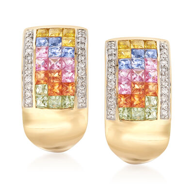 2.10 ct. t.w. Multicolored Sapphire and .22 ct. t.w. Diamond Drop Earrings in 18kt Gold , , default