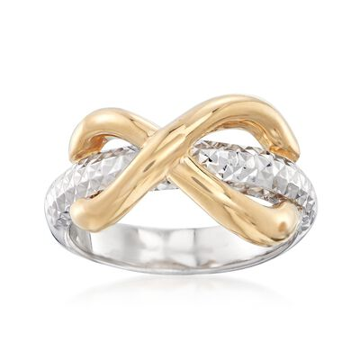 Two-Tone Sterling Silver Infinity Top Ring, , default