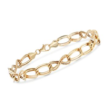"14kt Yellow Gold Textured and Polished Multi-Link Bracelet. 7"", , default"
