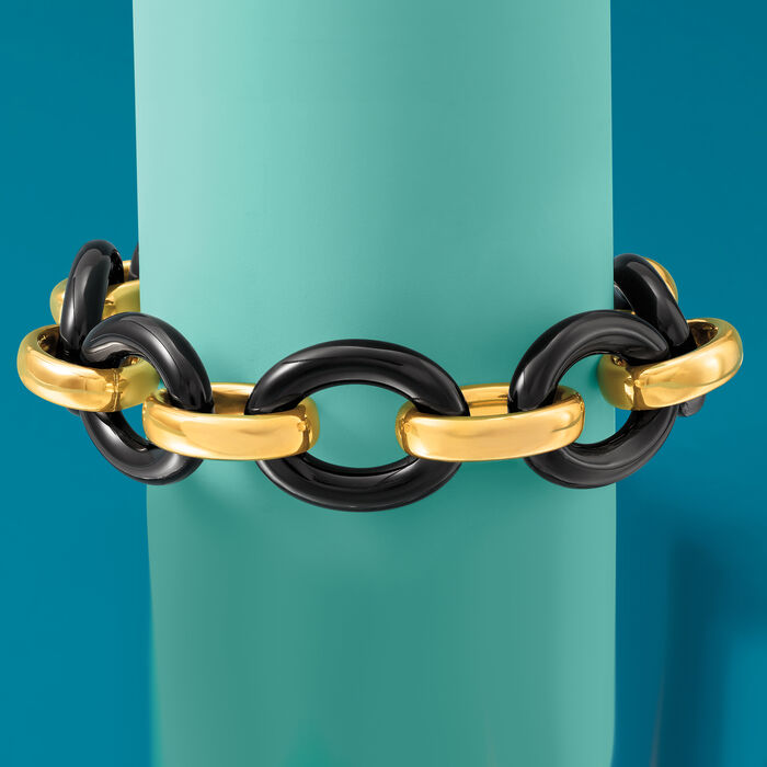 Andiamo 14kt Yellow Gold and Black Onyx Link Bracelet with Diamond Accent on Magnetic Clasp