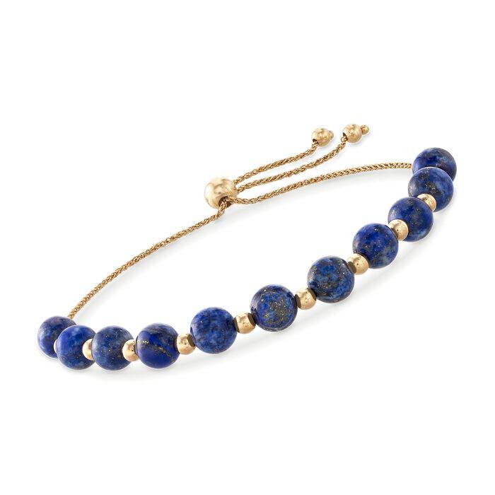 Lapis and 14kt Yellow Gold Bead Bolo Bracelet, , default