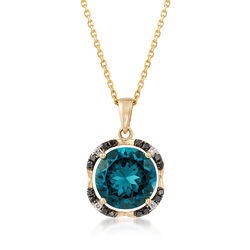 4.40 Carat London Blue Topaz Pendant Necklace in 14kt Yellow Gold, , default
