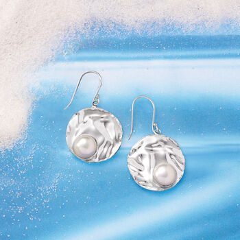 10mm Cultured Pearl Circle Drop Earrings in Sterling Silver