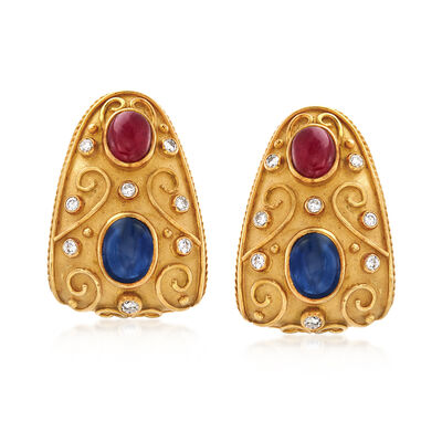 C. 1980 Vintage 5.20 ct. t.w. Sapphire and 2.70 ct. t.w. Ruby Earrings with Diamonds in 18kt Yellow Gold, , default