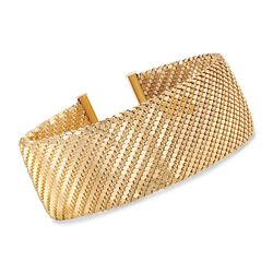 "Italian 18kt Yellow Gold Over Sterling Silver Cuff Bracelet With Stainless Steel. 7.5"", , default"