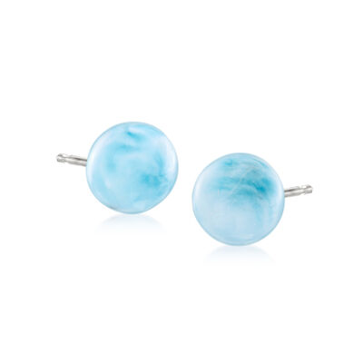 Larimar Bead Stud Earrings in Sterling Silver