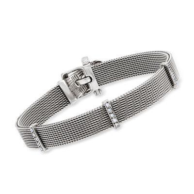 C. 1960 Vintage .20 ct. t.w. Diamond Mesh Belt Buckle Bracelet in 18kt White Gold