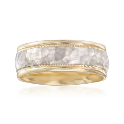 Men's 8mm 14kt Two-Tone Gold Wedding Ring, , default