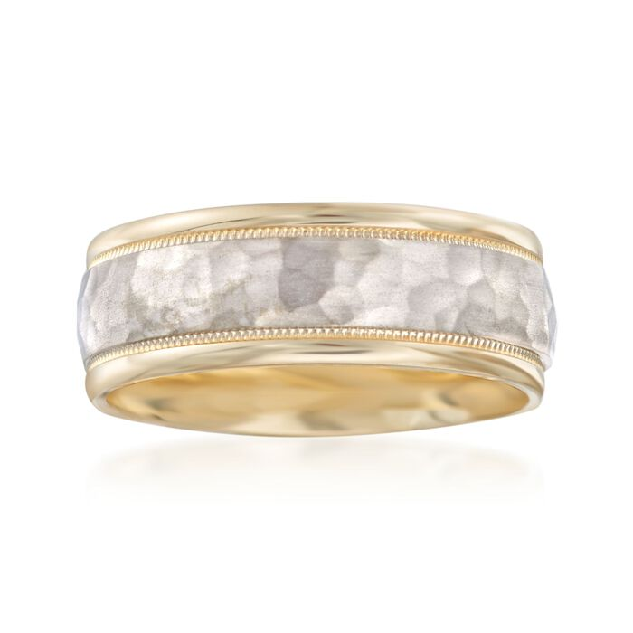 Men's 8mm 14kt Two-Tone Gold Wedding Ring. Size 9, , default