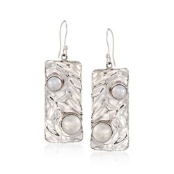6-8mm Cultured Pearl Hammered Drop Earrings in Sterling Silver, , default