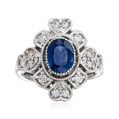 C. 1980 Vintage 1.60 Carat Sapphire and .51 ct. t.w. Diamond Heart-Motif Ring in 18kt White Gold, , default