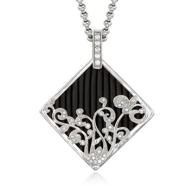 "Belle Etoile ""Andante"" Black Rubber and .36 ct. t.w. CZ Pendant in Sterling Silver, , default"